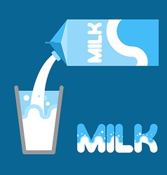 Milk pour milk into a glass from packaging milk vector