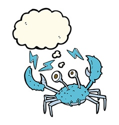 Cartoon crab with thought bubble vector