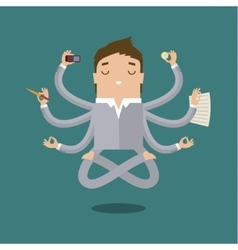 Businessman with multitasking vector
