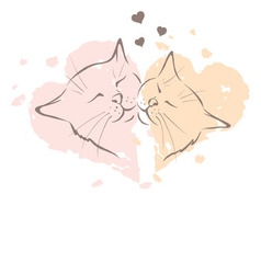 Valentine card - love cats vector
