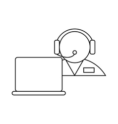 Operator in a headset with laptop icon vector