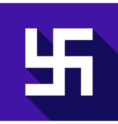 Flat swastika icon with long shadow vector