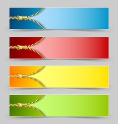 Zipper banners vector