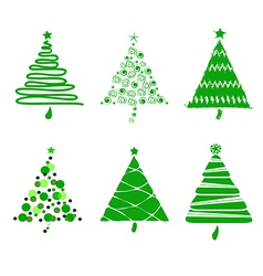 A collection of Christmas trees set vector image