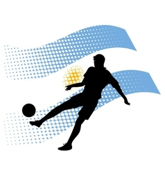 argentina soccer player against national flag vector image vector image
