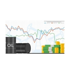 Barrel of oil price chart in vector