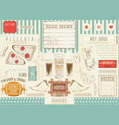Beer and fast food placemat vector