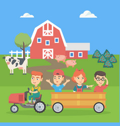 boy driving a tractor with his friends in trailer vector image