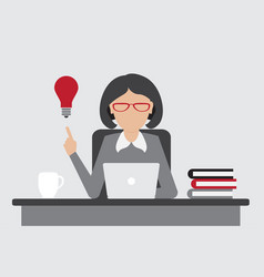 Business woman have an idea for startup with vector