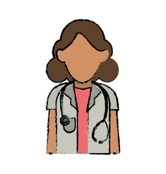 Cartoon doctor woman stethoscope medical vector
