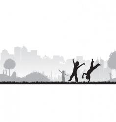 Children playing and dancing vector