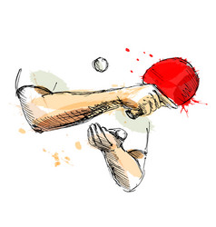 colored hand sketch hand table tennis player vector image