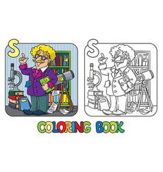 coloring book of funny scientist or inventor vector image vector image