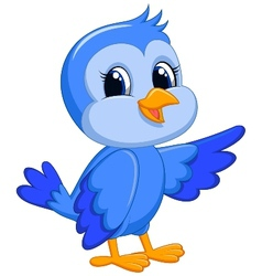 Cute blue bird cartoon vector image