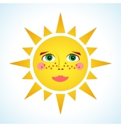 Cute smiling sun vector image vector image