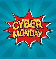 cyber monday sale web banner pop art comic vector image