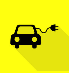 Eco electric car sign black icon with flat style vector
