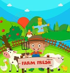 Farmer and farm animals on the farm vector