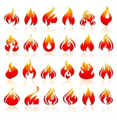 Fire flames set orange icons with reflection vector