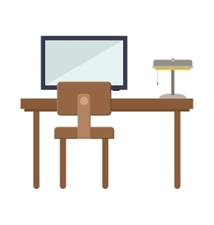 Front view desk with flat screen and lamp vector