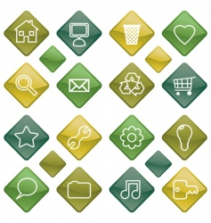 green icons set vector image