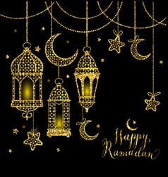 Greeting card ramadan kareem design with lamps and vector
