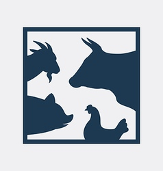 Group of farm animal in the frame vector image