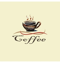 Hand drawn watercolor coffee cup vector