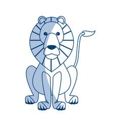 Lion sits dangerous predator animal vector