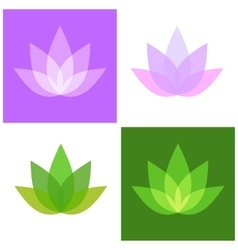 Lotus symbol icons set yoga and spa logo vector