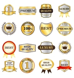 Luxury golden labels icons set isometric 3d style vector image