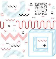 memphis seamless pattern line art design vector image