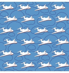 seamless background with airplanes vector image vector image