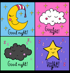 Set good night vector