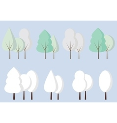 Set of flat icon winter trees vector
