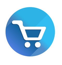 Shoppind cart - long shadow icon style is a flat vector