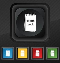 Sketchbook icon symbol set of five colorful vector