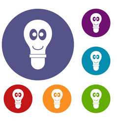 smiling light bulb with eyes icons set vector image vector image