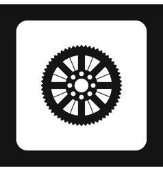 Sprocket for bicycle icon simple style vector