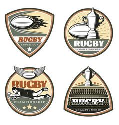 Vintage colored rugby emblems set vector