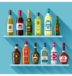 Alcohol drinks background design bottles for vector