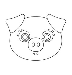 Pig muzzle icon in outline style isolated on white vector