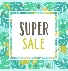 Super sale tropical pattern card template vector