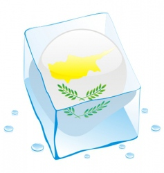 Frozen button flag of cyprus vector