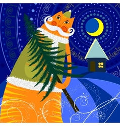 Cat has a New Year tree vector image