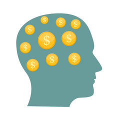 money in head flat business concept vector image