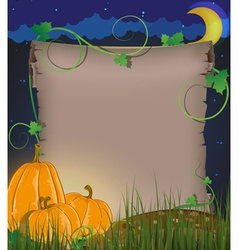 Pumpkins and parchment vector