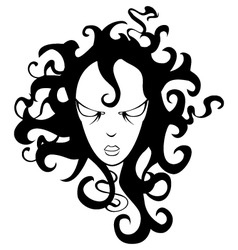 Cartoon girl with curly hair vector