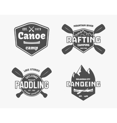 Set of vintage rafting kayaking canoeing camp vector