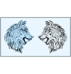 Graphic decorative wolves in black and blue colors vector
